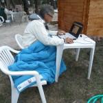 Nous avons travaillé jusqu'à 23H30 et il faisait un peu froid, d'où la couette providentielle !
